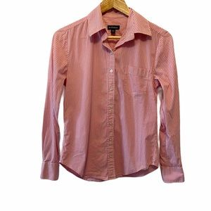 LE CHATEAU Pink&White Striped Button Up Blouse XS